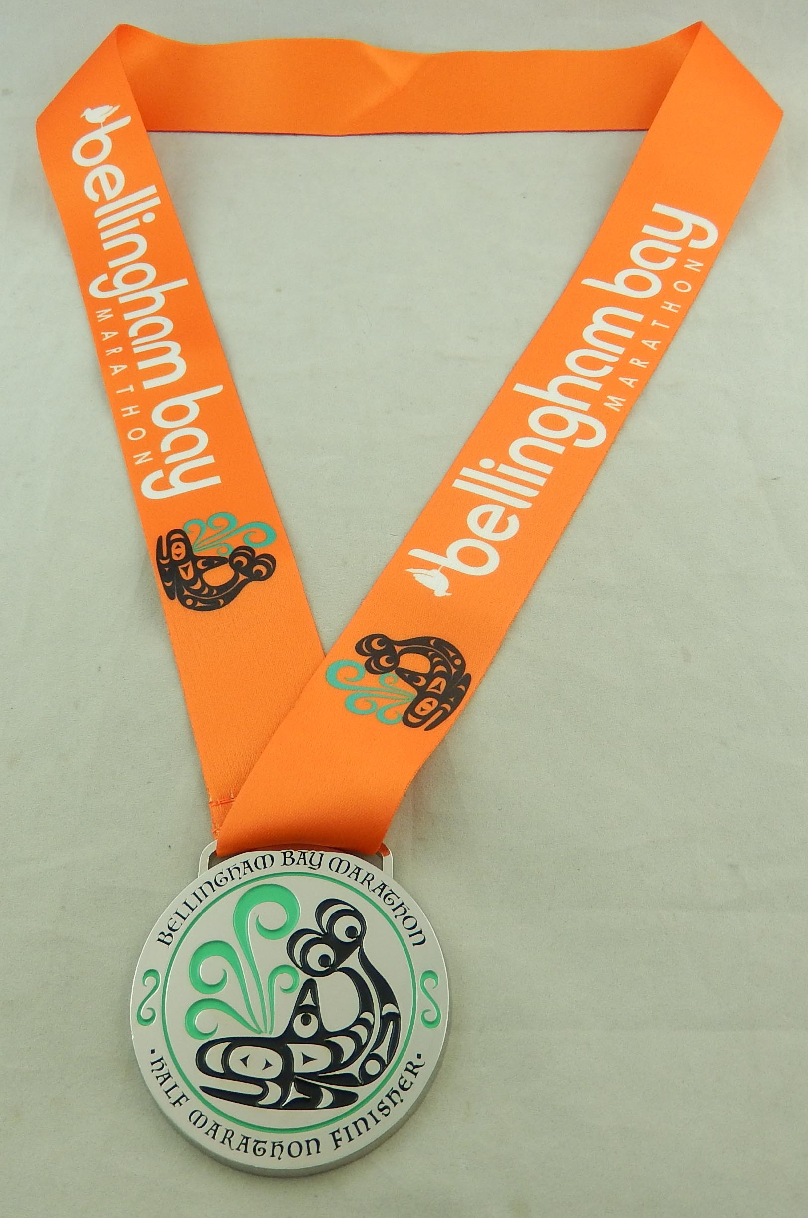 Bellingham Bay half medal with ribbon 8-12